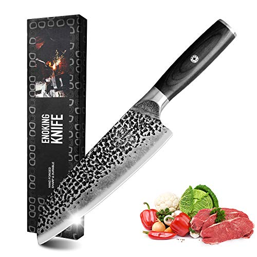 ENOKING Hand Forged Knife, 7 Inch Chef Knife, High Carbon Steel Meat Knife, Super Sharp Blade, Ergonomic Wood Handle Kitchen Knife