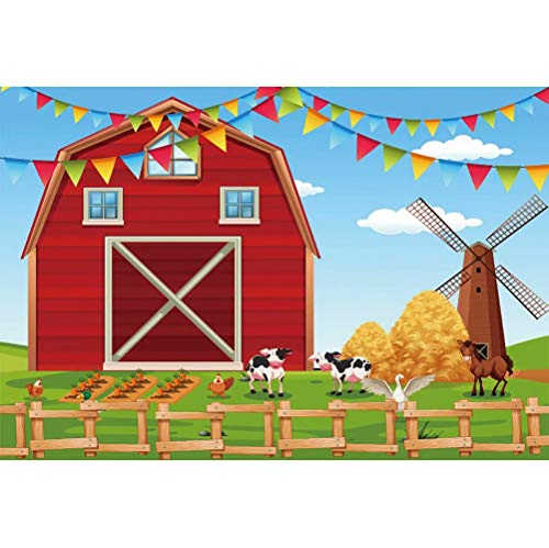 Cassisy 2,2x1,5m Vinilo Telon de Fondo Dibujos Animados Telón de Fondo de la Granja Fiesta de cumpleaños Fardos de Paja Cerca Fondos para Fotografia bebé Infantil Photo Studio Props Photo Booth