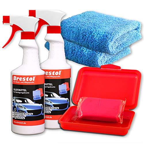 Brestol Reinigungsknete Set5 200 g Knete rot abrasiv + Box + 2X 750 ml Spezial GLEITMITTEL + 2X Poliertuch - Polierknete Lackknete Clay-Bar Auto-Lack-Knete - entfernt Baumharz Insekten u.v.m.