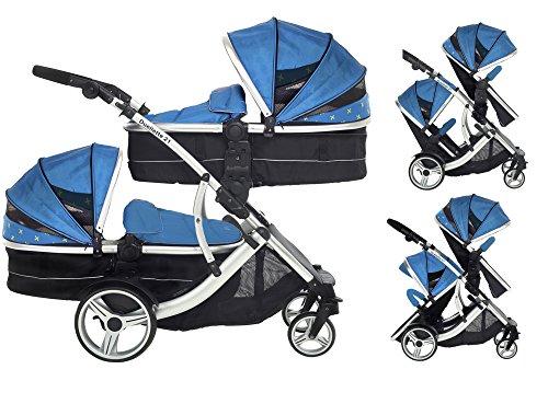 Duellette 21 Combo Twin Tandem Pushchair Baby Newborn carrycots Pram Travel system Tandem stroller buggy: 2 Pramette/seat units, 2 footmuffs 2 Rain covers, Teal mist by Kids Kargo