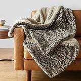 Amazon Basics Fuzzy Faux Fur Sherpa Throw Blanket , 50'x60' - Brown Leopard