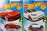 Hot Wheels Tesla Model 3 White and Red 172/250 2 Car Bundle Set
