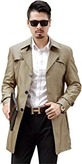 INVACHI Mens Single Breasted Trench Coat Slim Fit Overcoat Long Outdoor Jacket Turn Down Windbreaker