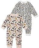 Tiny One Baby Strampler im 2er Set | Pyjama | Schlafanzug | Unisex | Mädchen und Jungen | Print | Biologische Baumwolle | GOTS | 0 - 18 Monate, Variante:Leopard - 2er Set, Größe:56 | 1-2 Monate