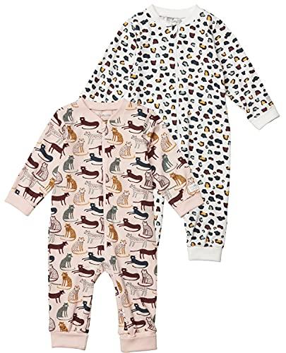 Tiny One Baby Strampler im 2er Set | Pyjama | Schlafanzug | Unisex | Mädchen und Jungen | Print | Biologische Baumwolle | GOTS | 0 - 18 Monate, Variante:Leopard - 2er Set, Größe:50 | 0-1 Monate