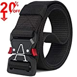 Fairwin Tactical Belt, Military Style Webbing Riggers Web Belt with Heavy-Duty Quick-Release Metal Buckle(Black-A, M 36'-42')
