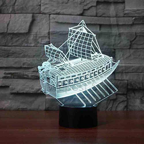 YDBDB Sailing Boat 3D Night Light Led 7 Color Change Desk Lamp USB Sitting Room Lights Led Christmas Gift Lamp Remote Control