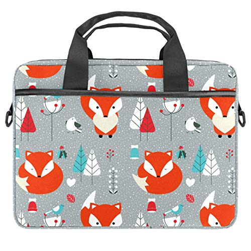 13-14.5 Inch Laptop Sleeve Case Grey Animal Fox Protective Cover Bag Portable Computer Notebook Carrying Case Briefcase Message Bag