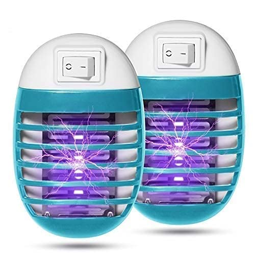 2 Pack Indoor Electric Bug Zapper Plug in Mosquito Killer with UV LED Night Light Electronic Insect Trap for Pests Fruit Flies Flying Gnats