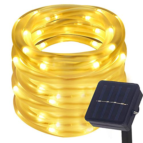 DULEE Solar Powered Outdoor Waterproof LED Rope Lights 10M 100 LED Neon Tube Strip String Fairy Lights,Warm White