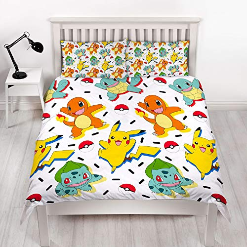 Pokemon Double Duvet Cover | Reversible Two Sided Memphis Fun Bedding Featuring Pikachu, Squirtle & Charmander with Matching Pillow Case, Multi Coloured, 200 x 200cm