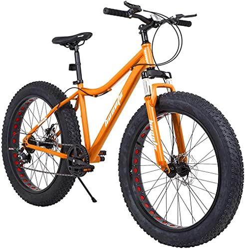 Dewei Fat Tire Bicicletas de montaña para Hombre, 26 Pulgadas, 27 velocidades, Freno de Disco Doble, Bicicleta de Nieve, Horquilla de suspensión, Marco de Acero de Alto Carbono
