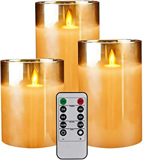 LED Flickering Flameless Candles Set of 3 Battery Operated Moving Wick Candle Luxury Glass Real Wax Remote Control Home We...