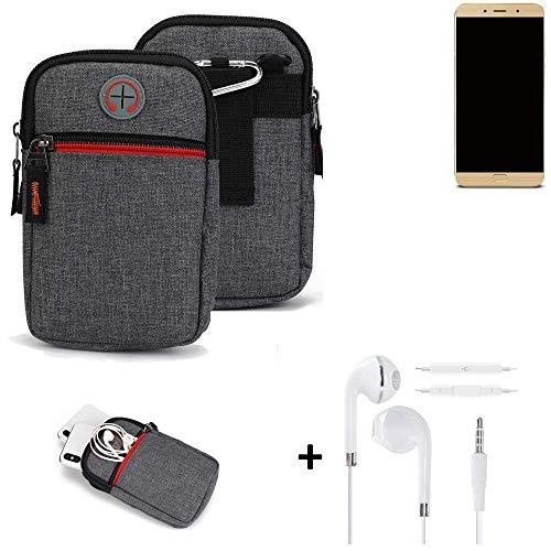 K-S-Trade® Gürtel-Tasche + Kopfhörer Für -Allview X4 Soul Lite- Handy-Tasche Schutz-hülle Grau Zusatzfächer 1x