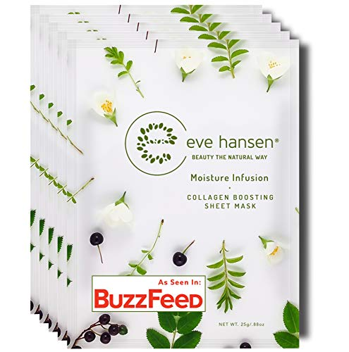 Eve Hansen Collagen Sheet Mask Set | Cruelty Free, Natural Hydrating Face Mask for Wrinkles and Dark...