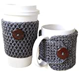 Crochet Cup and Mug Cozy 2 PC Set Grey