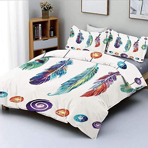 Juego de funda nórdica, colección de varias plumas tribales en Psychedelic Hippie Universe Cosmos Harmony Forms Juego de ropa de cama decorativo de 3 piezas con 2 fundas de almohada, multicolor, el me