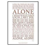 Póster con texto 'Alone Song Lyrics' (29,7 cm x 21 cm), color dorado rosa