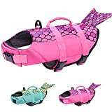 Malier Dog Life Jacket, Ripstop Dog Life Vest Adjustable Dog Life Preserver with Strong Buoyancy and Durable Rescue Handle Pet Lifesaver for Small Medium Large Dogs Swimming Boating (Pink, Small)