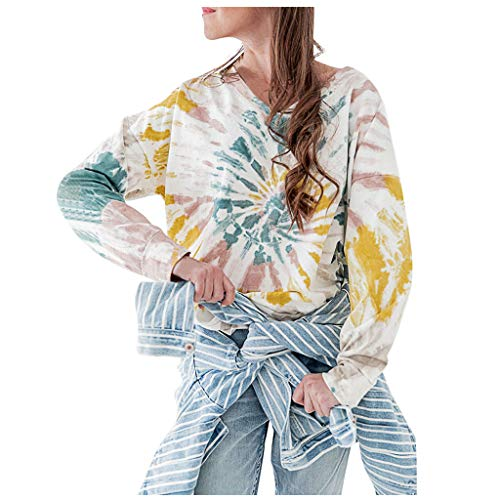 TOPSELD Damen Langarm Lose Bluse Hemd Shirt Oversize Sweatshirt Oberteil Tops(Gelb,M)