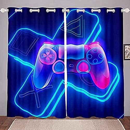 QWFDAQ Cortina antiruido Gamepad Creativo Azul Violeta visillos para cocinas 140cm x215cm x2 Cortinas Salon Opacas Estampadas - Cortina para Salón, Dormitorio y Habitación,