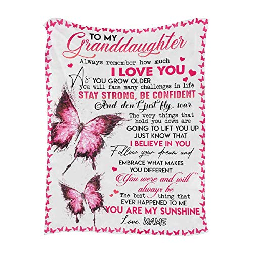 """Personalized Throw Blanket with Name & Message to My Granddaughter from Grandpa or Grandma, Always Remember How Much I Love You, Customized Blanket with Your Own Text & Names - Unique Gifts 50""""x60"""""""