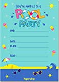 Papery Pop Pool Party Invitations with Envelopes (15 Count) - Kids...