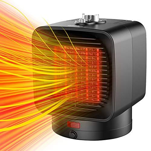 Ommani Heizlüfter Energiesparend, 2 Sekunden Mini Heizung Keramik Heizlüfter 1500W, 2 Modi Timing Elektrische Heizlüfter Badezimmer, Oszillierend, Überhitzungs- und Umkippschutz, für Büro und Familie