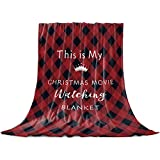 Christmas Movie Watching Throw Blanket,Red Black Check Buffalo Plaid Flannel Fleece Blanket,Soft Cozy Fuzzy Comfy Lightweight Xmas Holiday Decor Gift for Women Men-Couch,Bed,Sofa Nap Blanket - 60'x50'