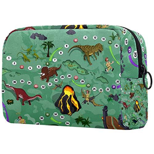 Kosmetiktasche Make-up Taschen für Frauen, kleine Make-up Tasche Reisetaschen für Toilettenartikel - Dinosaurier Brettspiel Cartoon Abenteuer Karte Labyrinth