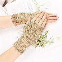 ユニセックスランニンググローブ 女性の女の子の迷彩ニットかぎ針編みの腕のない暖かい熱冬手袋の柔らかい暖かい手袋ミトン (Color : Dark Khaki)