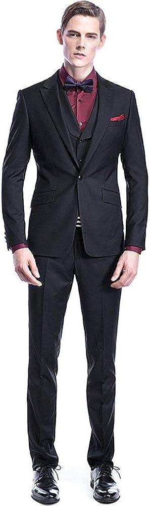Frank Men's Suit Black Flap Pocket Wedding Formal Slim Fit Handsome Tuxedos Custom Made 3-Piece Business Dinner Dress