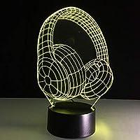 QHZSFF 3Dンナイトライト,USBまたはバッテリー電源,16色は、男の子と女の子のためのギフトのアイデアとしてリモートコントロール錯覚で装飾ランプを変更します(ヘッドセット)