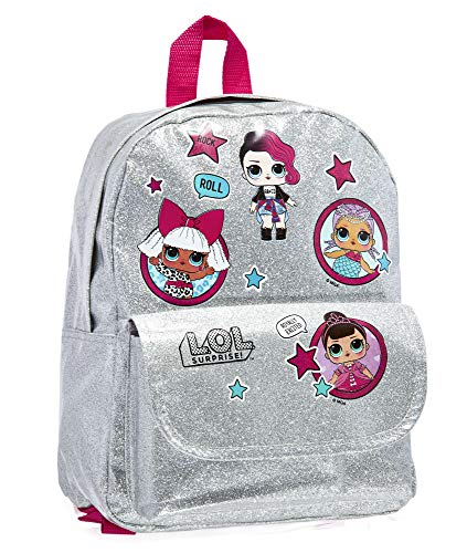 L.O.L. Surprise ! Backpacks for Girls | Confetti Pop Latest Bags for Girls Featuring Dolls Diva, Rocker, Merbaby and Fancy Rucksack Or Merbaby and Unicorn | Girls Backpack (Silver)