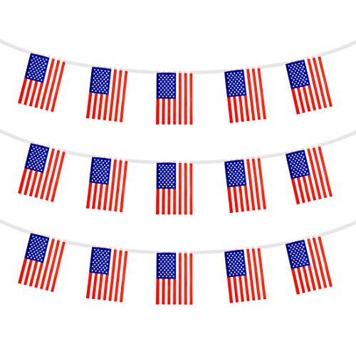 Olivilo American Flag Banner, Unabhängigkeitstag Dekoration, 4. Juli Dekorationen, Veterans Day Dekorationen, 45 Fuß, 38 Flaggen (amerikanisch)