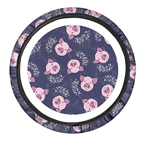 PZZ BEACH Pig Cute Universal 15 inch Car Steering Wheel Cover for Women,Anti Slip and Sweat Absorption Auto Car Wrap Cover,Sunflower Car Accessories,Pink