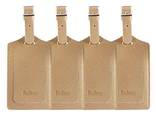 Sodsay Leather Luggage Tag Baggage Bag Travel Tags 4 pcs Set (CH Champagne Gold)