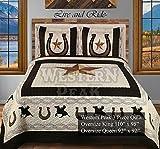 Western Peak 3PC Western Texas Star Cowboy Pferd Kabine Lodge Quilt Tagesdecke Oversize Tröster Queen Beige Cowboy