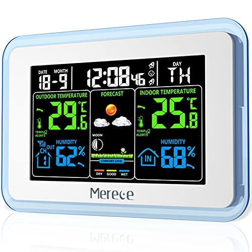 Merece - Termómetro inalámbrico para interiores y exteriores, pantalla LCD a color, estaciones meteorológicas con retroiluminación...