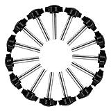 Perilla de Estrella, 15 Piezas Tornillo de Pulgar M8 x 40 mm Negro Plástico Tornillo de Mano Moleteado Tornillo de Sujeción para Maquinaria