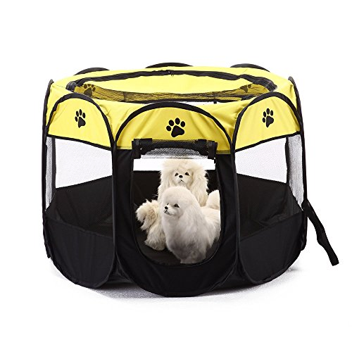 BWORPPY - Kennel per cane/gatto/cuccioli, pieghevole, tenda, resistente all'acqua, parte superiore rimovibile