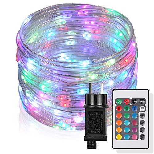 10m LED Schlauch Lichterkette Außen,Lichterketten mit 100 LEDs,16 Farben,4 Modi Wasserdicht Lichterketten für Thanksgiving, Weihnachten, Weihnachtsbaum, Garten, Terrasse, Balkon