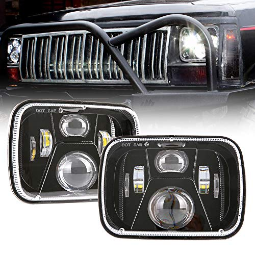 BICYACO DOT 110W 5x7 Inch Led Headlights 7x6 Hi/Low Led Sealed Beam Headlamp for Jeep Wrangler YJ Cherokee XJ H4 Plug H6054 Headlights H5054 6054 6052 Toyota Pickup(1 Pair)