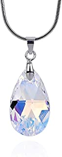 Crystal Teardrop Pendant Necklace Made with Swarovski Elements 18K White Gold Plated Chain for Women Brilliant Clear Shiny Jewelry Excellent Quality Best Anniversary Love Surprise
