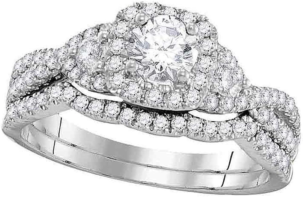 Fashion Diamond Max 59% OFF Bridal Two Rings Set Solid 14k Gold White Engagem Ladies