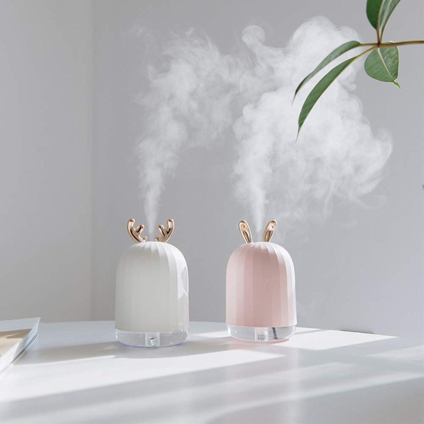 顕現基礎リブZXF LED水蒸気顔加湿器usb充電ナノスプレーカラフルな雰囲気ライトホワイトアントラーズピンクうさぎモデルでクリエイティブ美容水和機器コールドスプレークリエイティブ 滑らかである (色 : White)