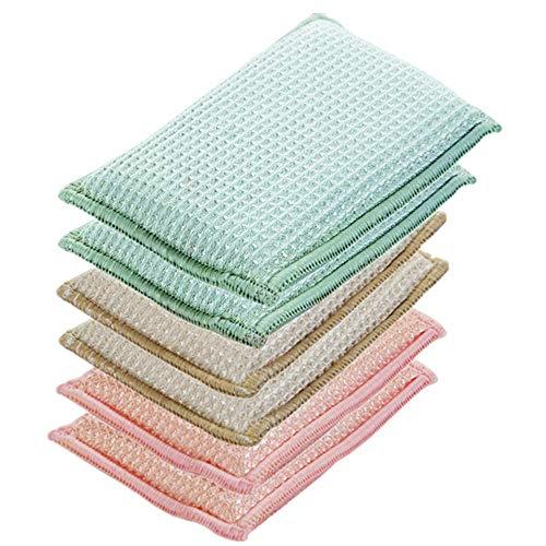 JEBBLAS 6pcs Eponges Lavable Vaisselle Grattante Antibactérienne Tampons Microfibre Non Odor Brosse Ideal pour Poêlons Antiadhésifs Poêles Pots