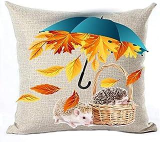 Bernice Winifred Happy Fall Maple Leaves Paraguas Azul Erizo Algodón Lino Throw Pillow Fundas Funda Cojín Funda de cojín Sofá Decorativo Cuadrado Almohada Decorativa Boda Cumpleaños (b) -B(18×18)