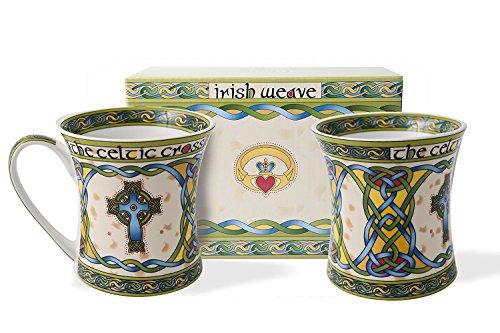 Royal Tara Traditional Irish Weave Bone China Coffee Mug Celtic High Cross Set of 2 Green