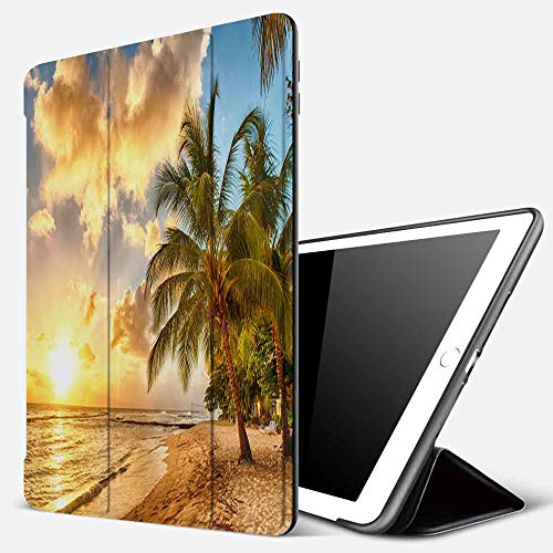 iPad 9.7 inch 2017/2018 Case/iPad Air/Air 2 Cover,Beautiful sunset over the sea with a view at palms on the white beach Barbados,PU Leather Shockproof Shell Stand Smart Cover with Auto Wake